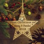 First 1st Christmas as Nanny & Grandad Personalised Star Decoration Gift